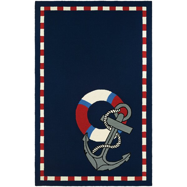Seaside Anchors Away Hand-Knotted Navy Indoor/Outdoor Area Rug by Breakwater Bay