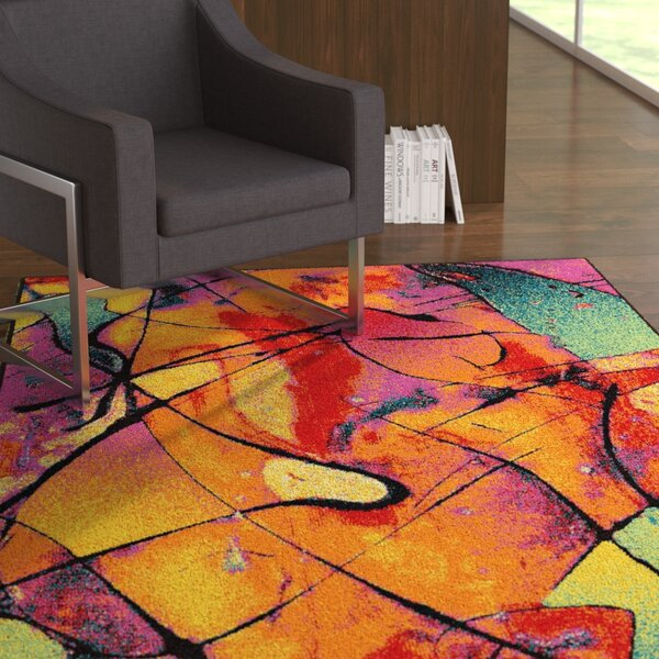 Weisinger Orange/Blue Area Rug by Latitude Run