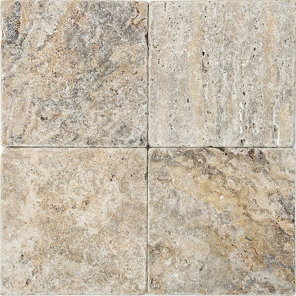 Scabos Tumbled 6 x 6 Travertine Field Tile in Gray by Parvatile