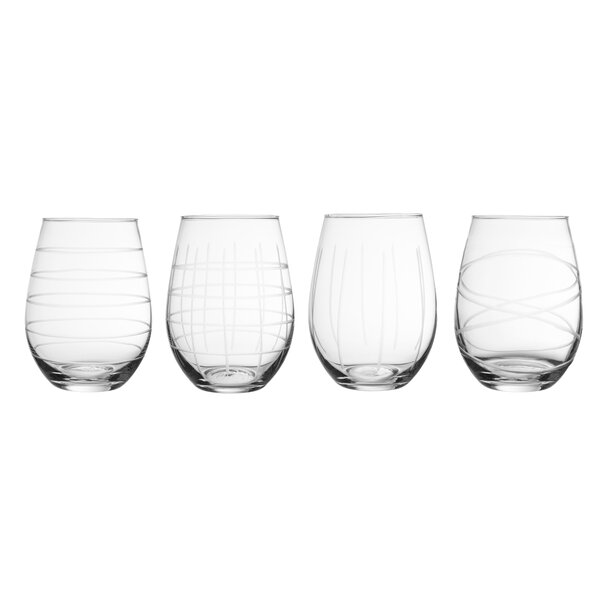Cangelosi Etched 4 Piece 20 oz. Glass Every Day Glass Set by George Oliver
