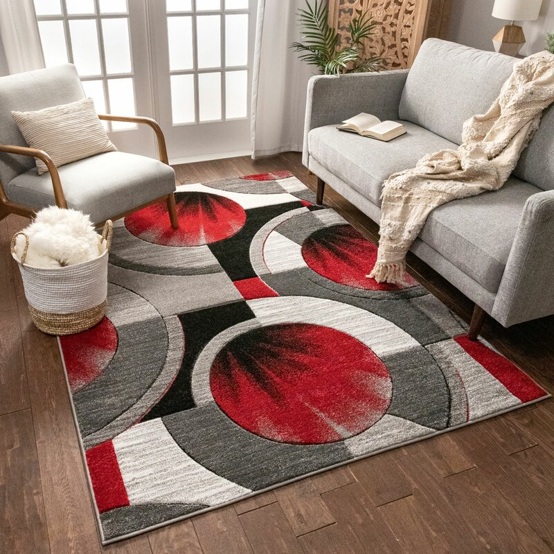 Well Woven Yolo Red Gray Area Rug
