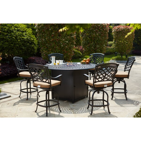 Minnis 7 Piece Bar Height Dining Set with Cushions and Firepit by Canora Grey