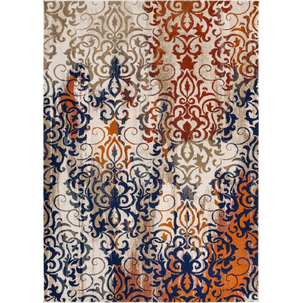 Kyler Orange/Blue Area Rug by Bungalow Rose