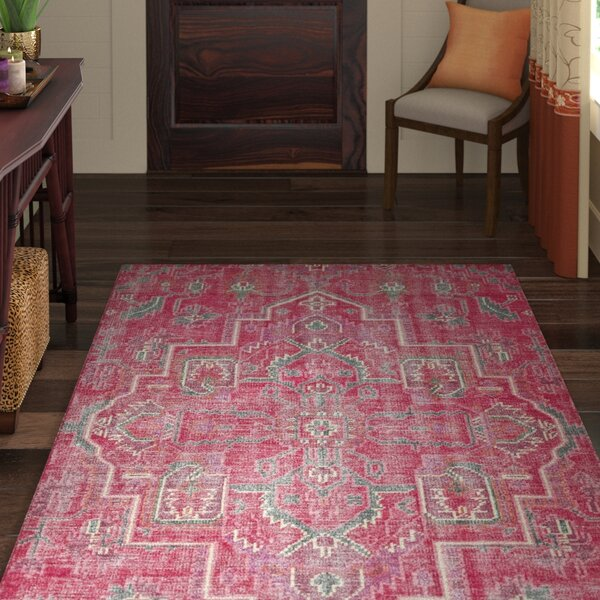 Aanya Hand-Knotted Pink Area Rug by World Menagerie