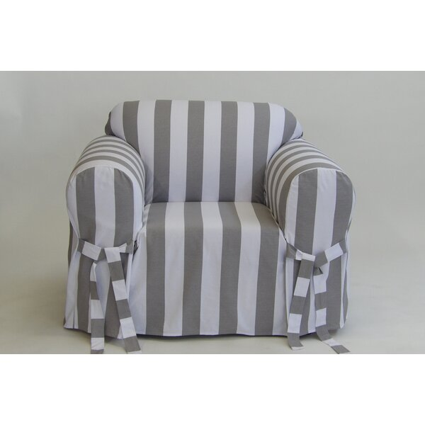 Stripe Box Cushion Armchair Slipcover by Breakwate