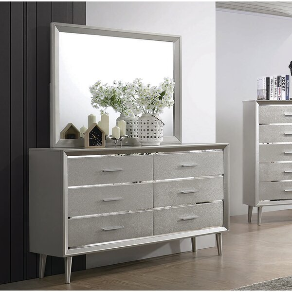 Plumlee 6 Drawer Double Dresser With Mirror By Everly Quinn by Everly Quinn New Design