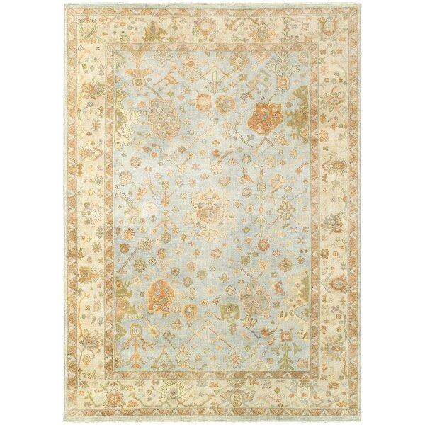 Adelia Traditional Hand-Knotted Wool Blue Area Rug