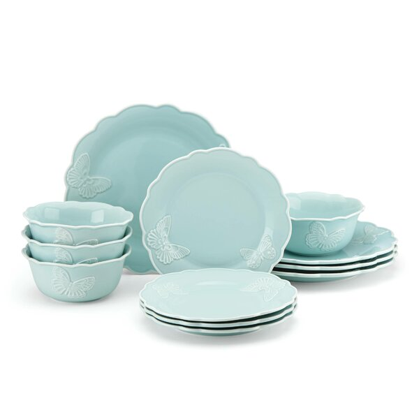 Meadow® Butterfly Carved 12 Piece Dinnerware Set, Service for 4 by Lenox