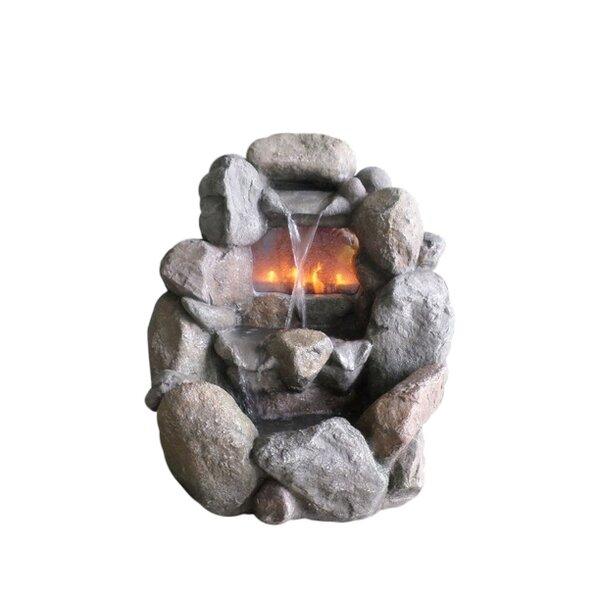 Fiberglass/Resin Faux Rock Fireplace Fountain by Northlight Seasonal