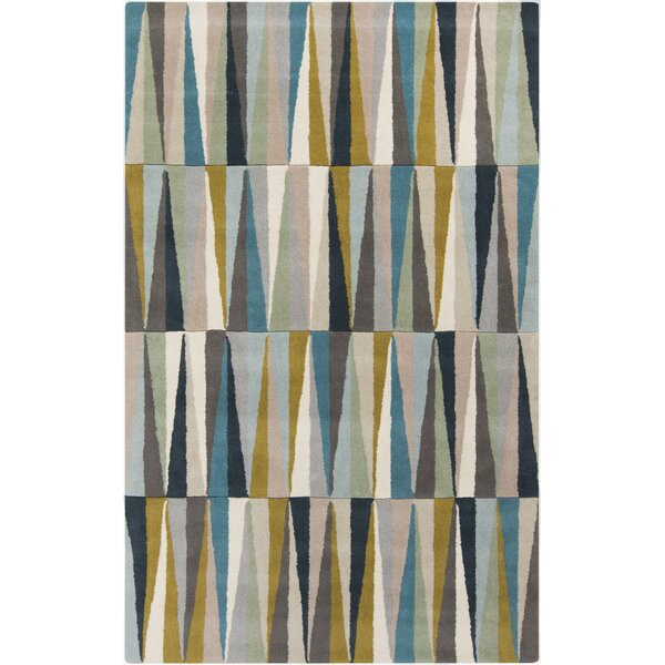 Vaughan Hand-Tufted Wool Aqua/Gray/Beige Area Rug by Wrought Studio