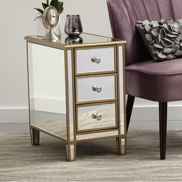 Garnett Mirrored End Table with Storage by Rosdorf Park