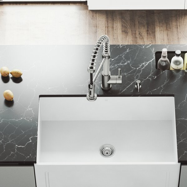 Matte Stone 30 x 18 Farmhouse Kitchen Sink with Basket Strainer by VIGO