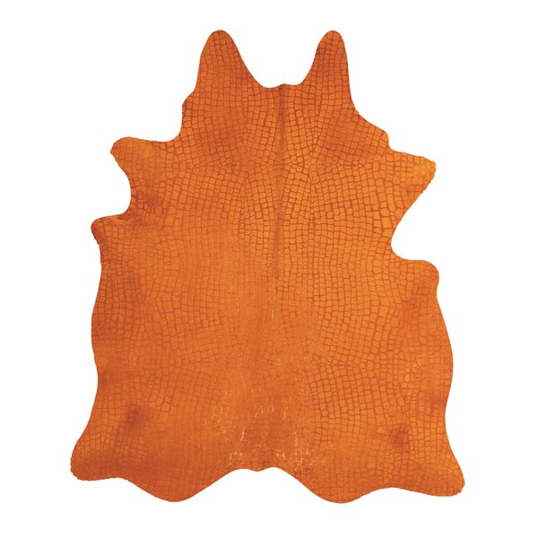 Bretta Crocodile Orange Hide Rug by Willa Arlo Interiors