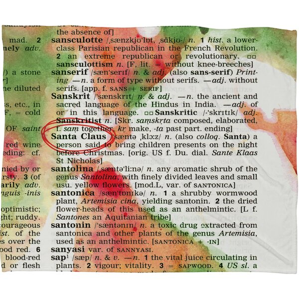 Susanne Kasielke Santa Claus Dictionary Art Plush Fleece Throw Blanket by Deny Designs