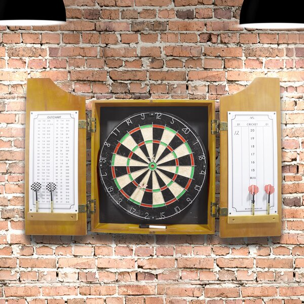 Solid Wood Dart Cabinet with Dartboard and Darts by Trademark Games