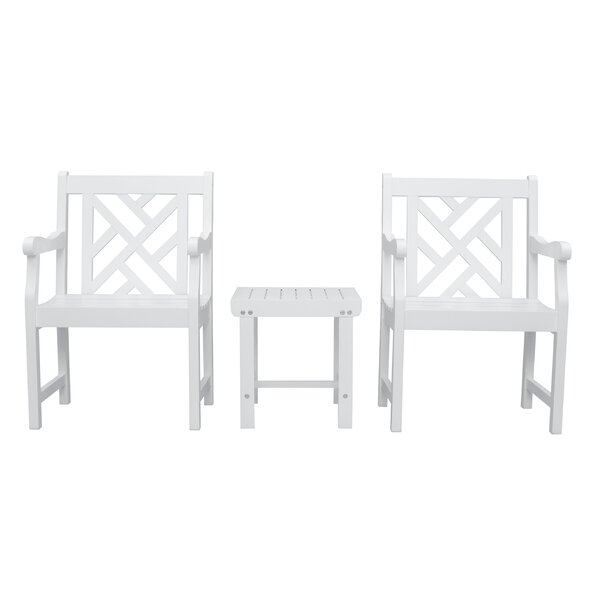 Monterry Patio Wood 3 Piece Conversation Set by Beachcrest Home