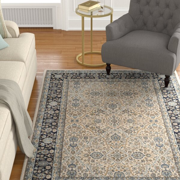 Godolphin Ivory/Navy Area Rug by Astoria Grand
