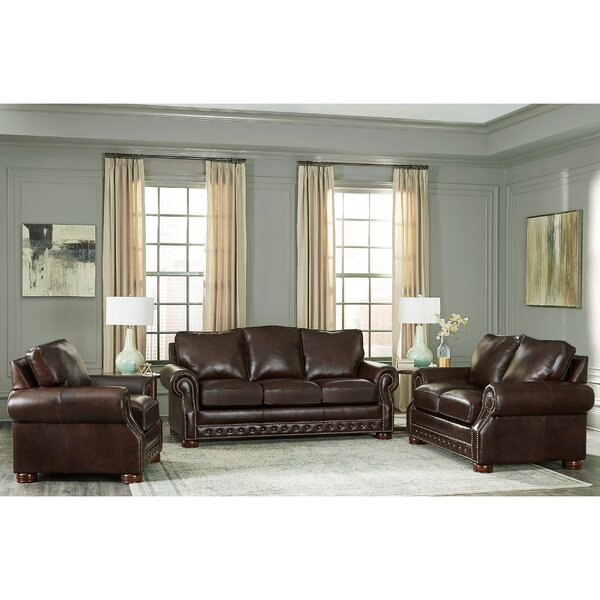 Pelaez 3 Piece Leather Living Room Set by Canora Grey Canora Grey