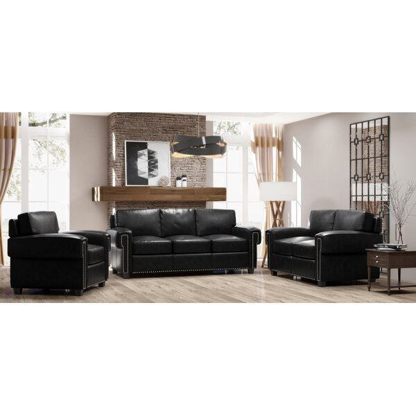 Sioux 3 Piece Leather Living Room Set by Westland and Birch