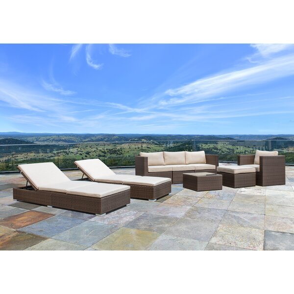 Banarji 8 Piece Rattan Sectional Seating Group with Cushions by Latitude Run
