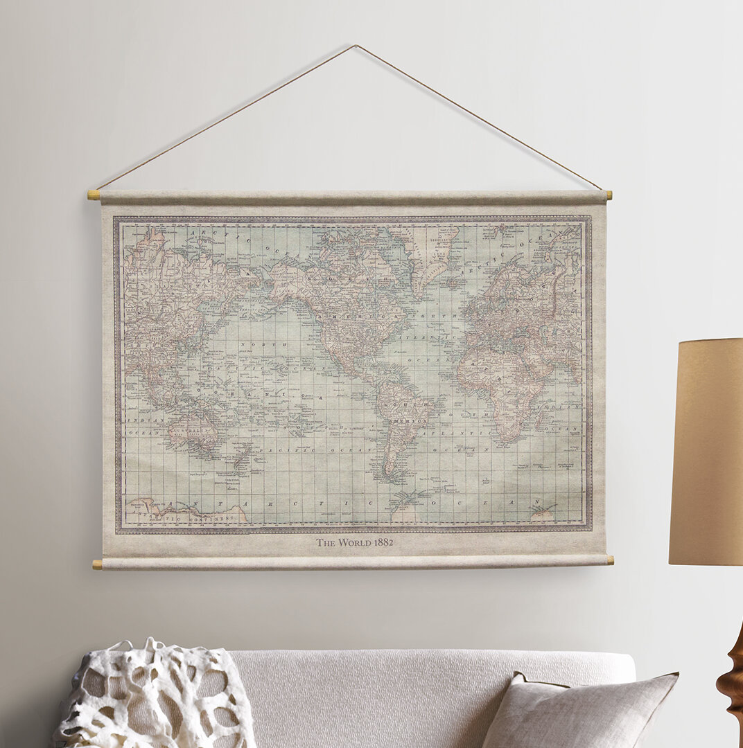 Antique World Map Tapestry.Charlton Home Vintage World Map Hanging Linen Tapestry Wayfair