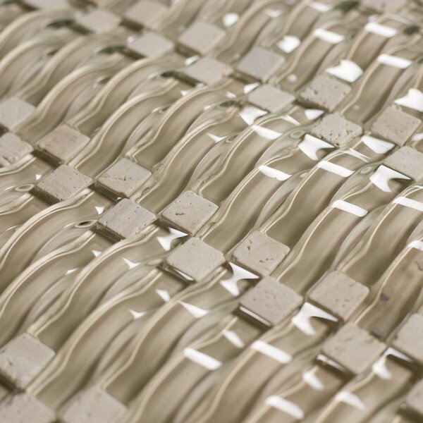 Wave 0.63 x 2.5 Glass Mosaic Tile in Beige by Abolos