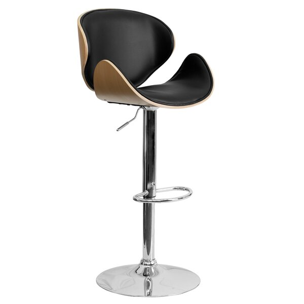 Deshazo Curved Adjustable Height Swivel Bar Stool by Wade Logan