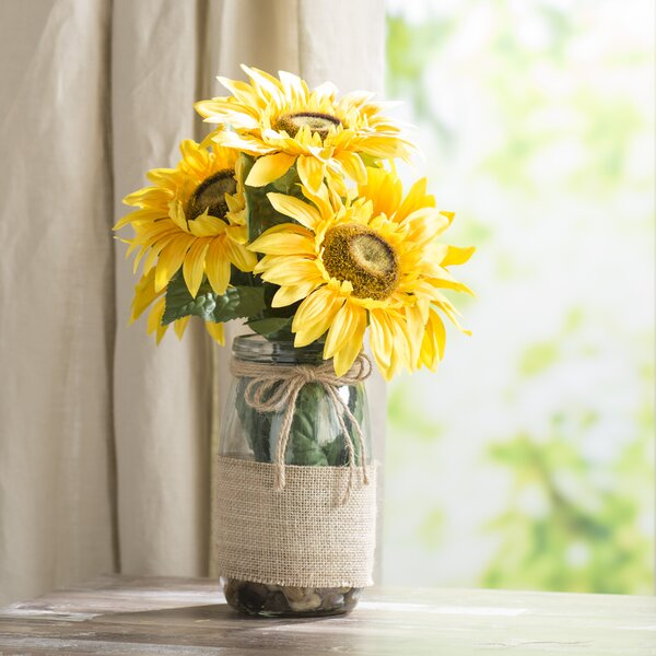 Sunflowers in a Vase with River Rocks and Faux Water by August Grove