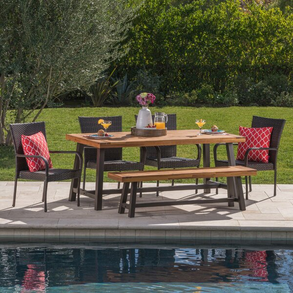 Oren Outdoor 6 Piece Wicker Dining Set by Ebern Designs