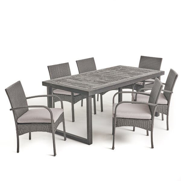 Cofer Outdoor 7 Piece Dining Set with Cushions by Highland Dunes