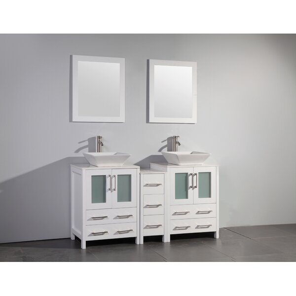 Mehara 60 Double Bathroom Vanity Set with Mirror by Brayden Studio