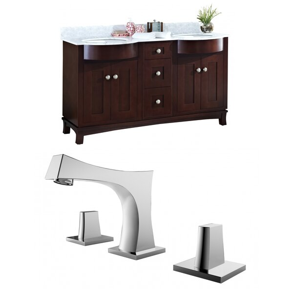 Kester 60 Double Bathroom Vanity Set with Stone Top by Darby Home Co