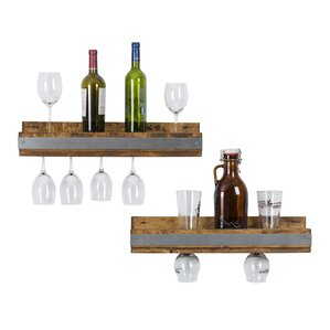 Shallow 5 Bottle Wall Mounted Wine Bottle Rack (Set of 2) by Del Hutson Designs