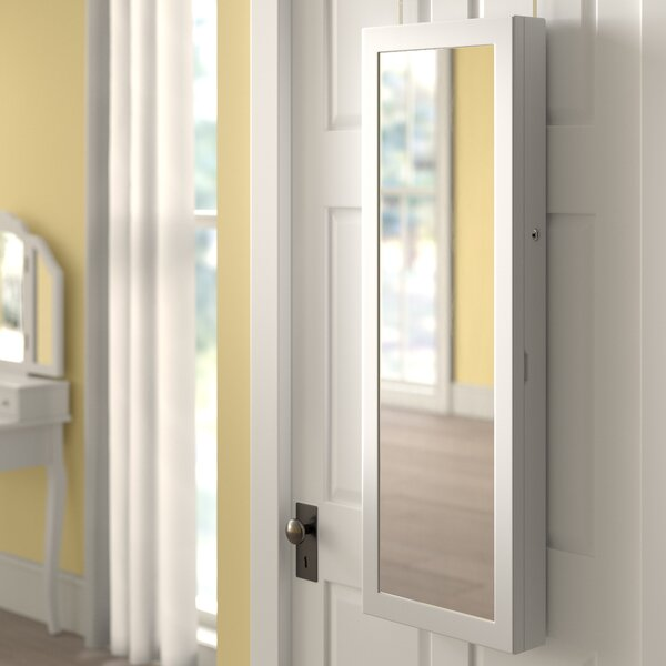 Askins 6 LED Lockable Over The Door Jewelry Armoire With Mirror By Red Barrel Studio