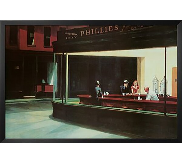 'Nighthawks Diner Scene Museum' by Edward Hopper Framed Painting Print by Red Barrel Studio