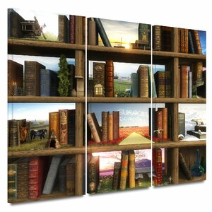 'Story World' by Cynthia Decker 3 Piece Graphic Art on Wrapped Canvas Set by ArtWall