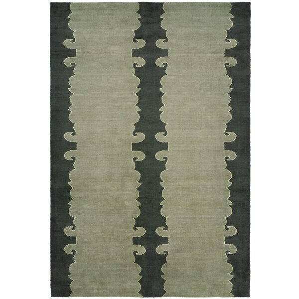 Farooqnagar Handmade Slate Green Area Rug by Meridian Rugmakers