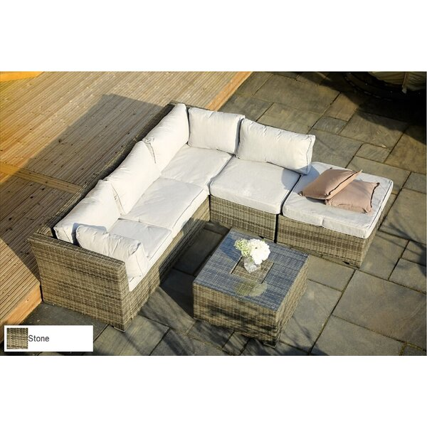 Bradenville 5-Piece Sofa Seating group with Table and Ottoman and Luxury Cushions Lounge Set by Brayden Studio
