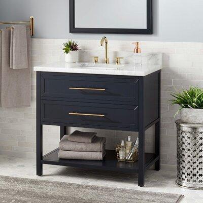Signature Hardware Vanity Cabinet Midnight Navy Blue Carrara Marble Rectangular Undermount Sink Vanities