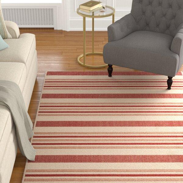 Octavius Beige / Red Indoor / Outdoor Area Rug by Charlton Home