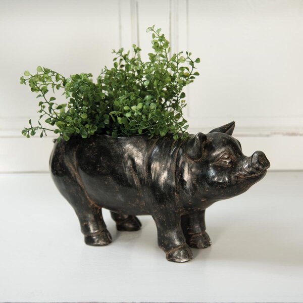 Mini Pig Resin Pot Planter by Foreside Home & Garden