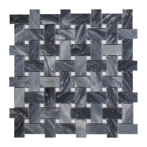Bardiglio Basketweave 1 x 2 Marble Mosaic Tile in Dark Gray by Seven Seas