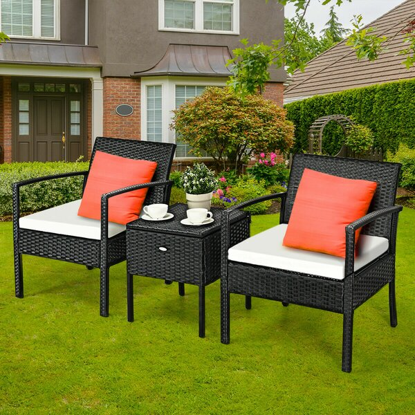 Herwarth 3 Piece Dining Set with Cushions by Ebern Designs