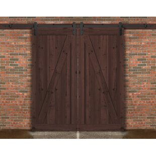 Farm Style Solid Wood Panelled Wood Prehung Interior Barn Door Kit