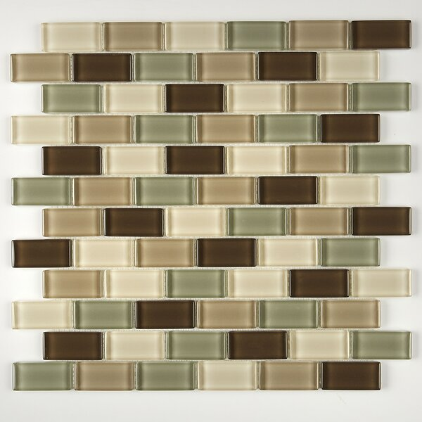 Geneva Brick Joint 12 x 13 Glass Mosaic Tile in Classic Sweet Escape by Itona Tile