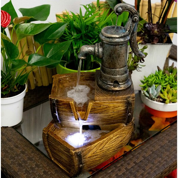 Fiberglass 2 Tier Barrel Fountain with LED Light by Alpine