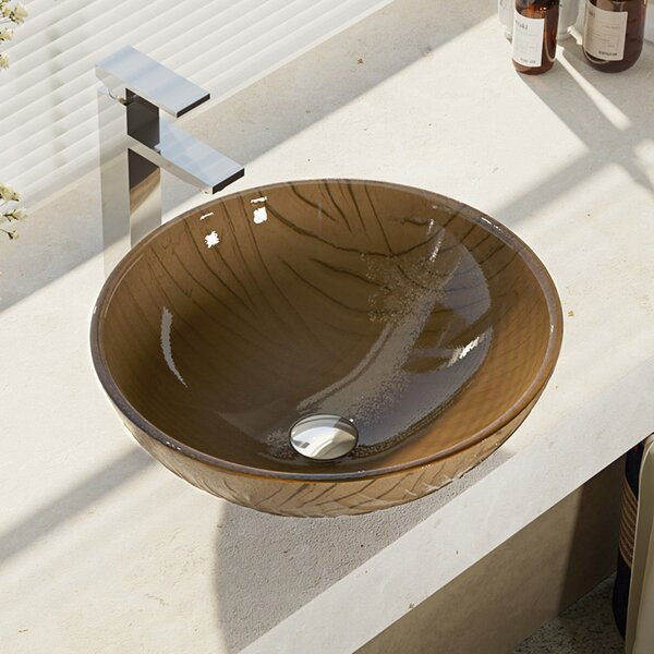 Tawny Glass Circular Vessel Bathroom Sink with Faucet