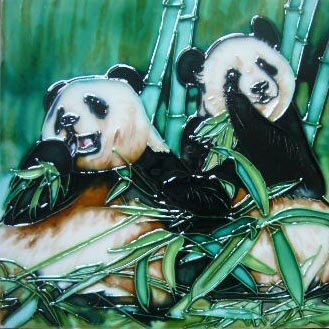 2 Panda Bears Tile Wall Decor by Continental Art Center
