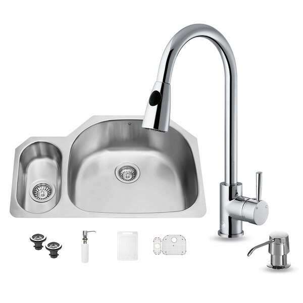 32 inch Undermount 80/20 Double Bowl 18 Gauge Stainless Steel Kitchen Sink with Weston Chrome Faucet, Grid, Two Strainers and Soap Dispenser by VIGO