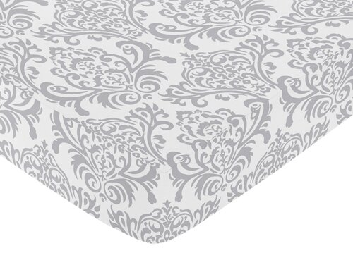 Elizabeth Damask Print Fitted Crib Sheet by Sweet Jojo Designs